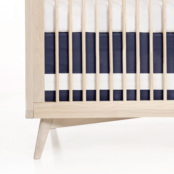 Oilo Indigo Woven Cotton Band Crib Skirt