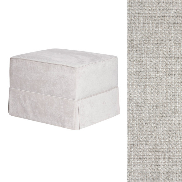 Oilo Ottoman with Skirt in Chenille Fog