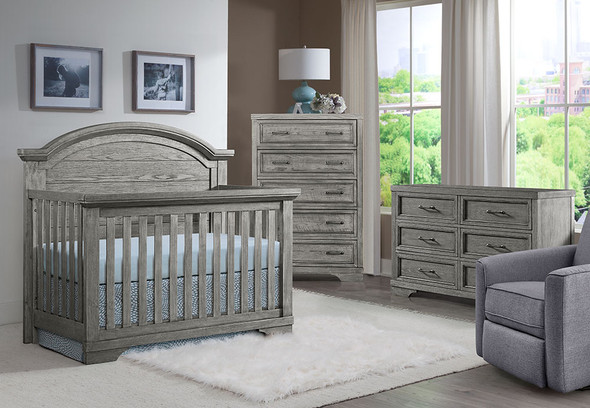 Westwood Foundry 3 Piece Arched Crib Nursery Set in Brushed Pewter
