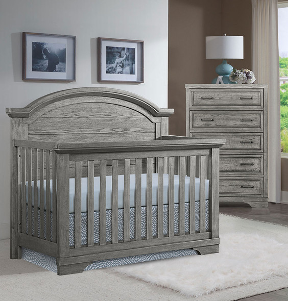 Westwood Foundry 2 Piece Nursery Set - Arched Crib and 5 Drawer Chest in Brushed Pewter