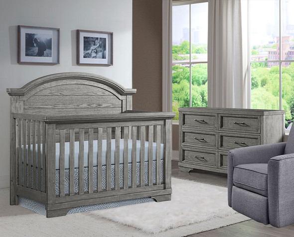 Westwood Foundry 2 Piece Nursery Set - Arched Crib and 6 Drawer in Brushed Pewter