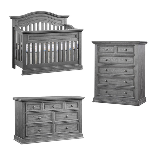 Oxford Baby Glenbrook Collection 3 Piece Nursery Set in Graphite Gray