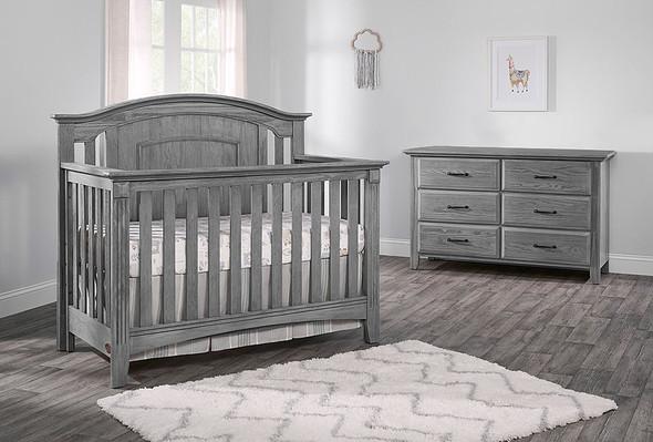 Oxford Baby Willowbrook 2 Piece Nursery Set - Crib and 6 Dr Dresser in Graphite Gray