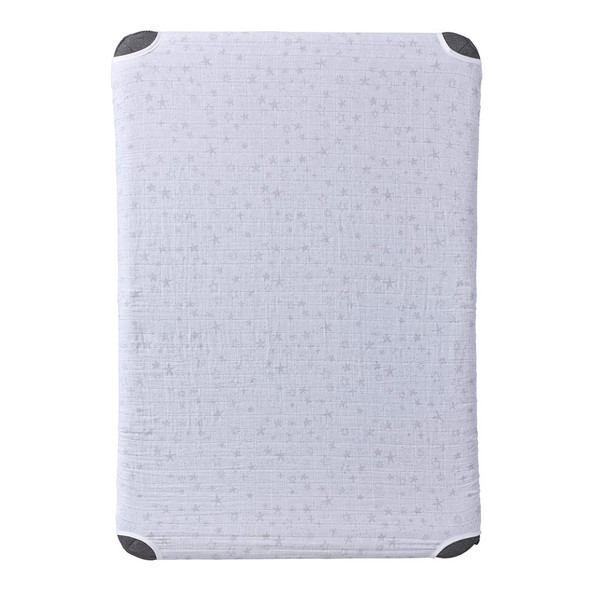 HALO DreamNest Open Airflow SleepSystem Muslin Gray star print sheet.
