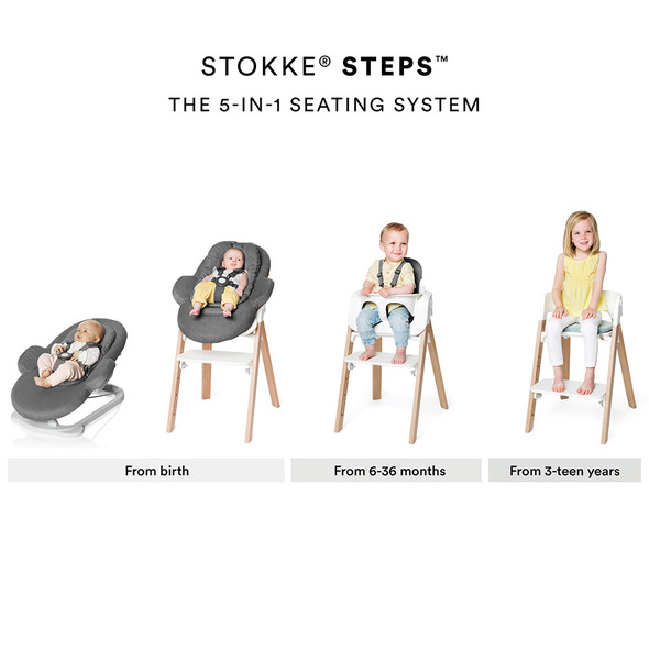 Stokke Steps High Chair Complete (incl. Legs, Seat, Babyset, Cushion and Tray) in Natural legs w white seat and grey cushion