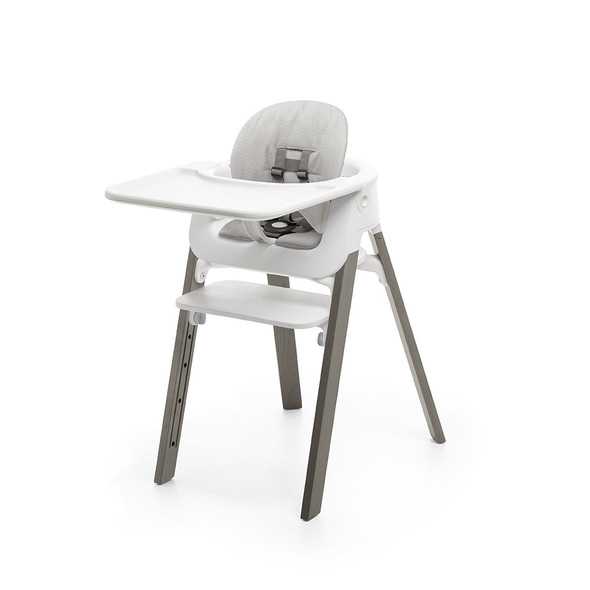 Stokke Steps High Chair Complete (incl. Legs, Seat, Babyset, Cushion and Tray) in Hazy grey legs w white seat and grey cushion