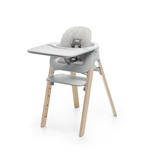Stokke Steps High Chair Complete (incl. Legs, Seat, Babyset, Cushion and Tray) in Natural legs w grey seat and grey cushion