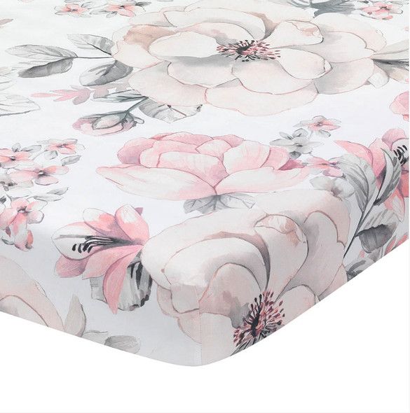 Lambs & Ivy Botanical Baby - Signature Sheet - White Floral