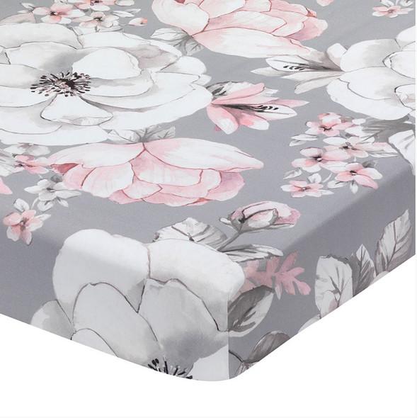 Lambs & Ivy Botanical Baby - Signature Sheet - Grey Floral