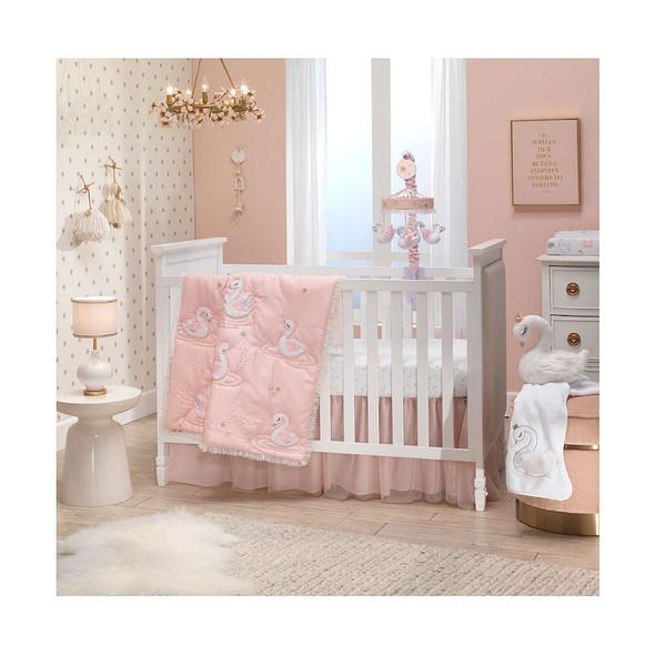 Lambs & Ivy Swan Princess - Signature 3-Pc - Quilt, sheet & crib skirt