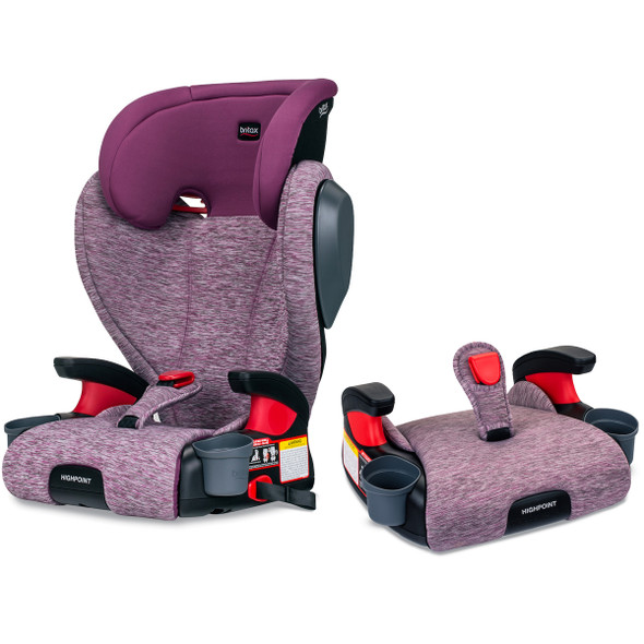 Britax USA Skyline 2-Stage Belt-Positioning Booster Car Seat - Highback and Backless in Mulberry
