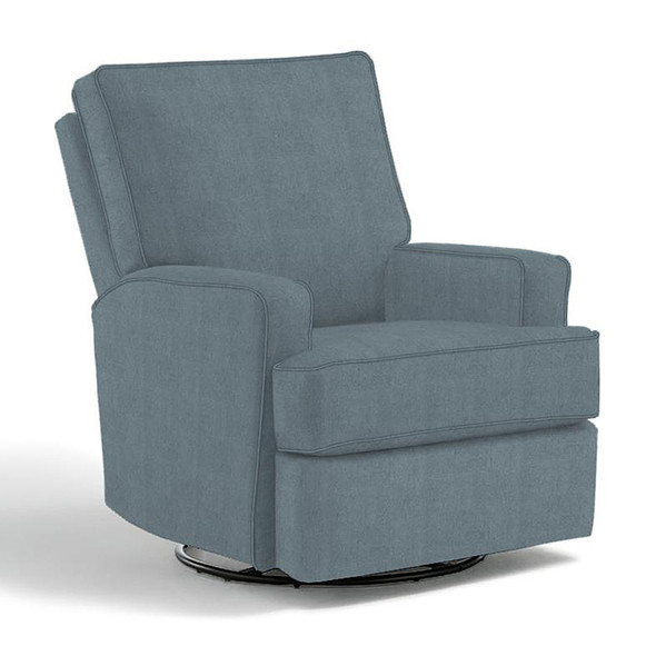 Best Chairs Kersey Swivel Glider Recliner in Blue Slate