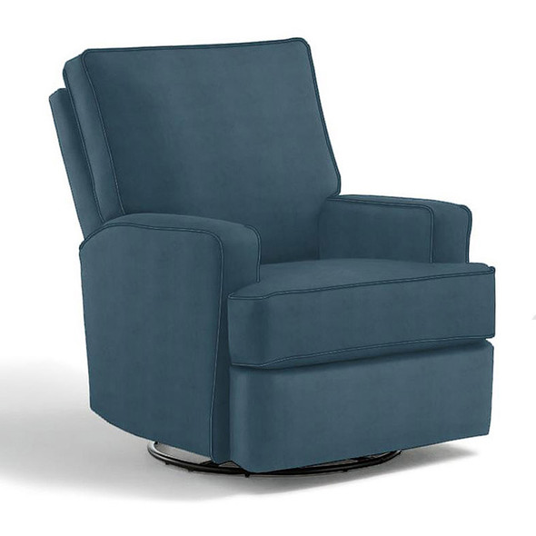Best Chairs Kersey Swivel Glider Recliner in Navy
