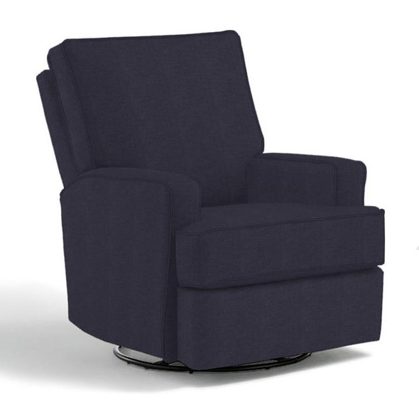 Best Chairs Kersey Swivel Glider Recliner in Navy-1