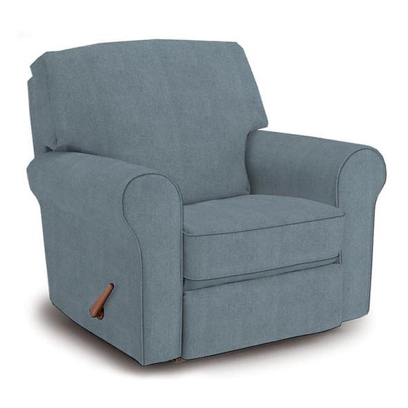 Best Chairs Irvington Swivel Glider Recliner in Blue Slate