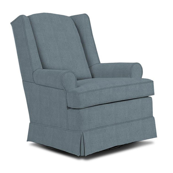 Best Chairs Roni Swivel Glider in Blue Slate