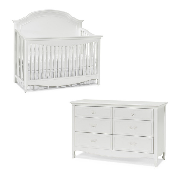 Dolce Babi Alessia 2 Piece Nursery Set - Convertivle Crib and Double Dresser in Bright White