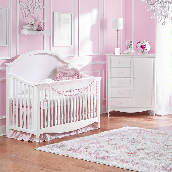 Dolce Babi Alessia 2 Piece Nursery Set - Convertivle Crib and Chifforobe in Bright White