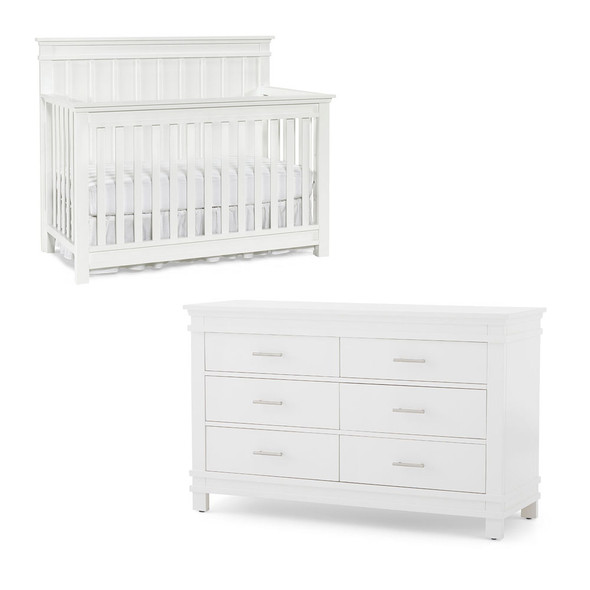 Dolce Babi Bocca 2 Piece Nursery Set - Convertible Crib and Double Dresser in Bright White
