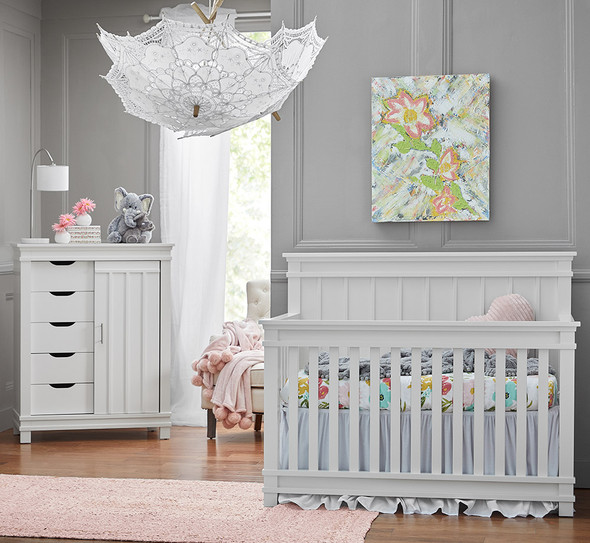 Dolce Babi Bocca 2 Piece Nursery Set - Convertible Crib and Chifforobe in Bright White