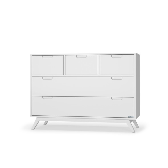 Dadada Soho Collection 5 Drawer Dresser in White