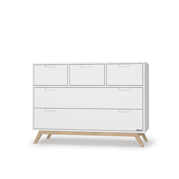 Dadada Soho Collection 5 Drawer Dresser in White and Natural