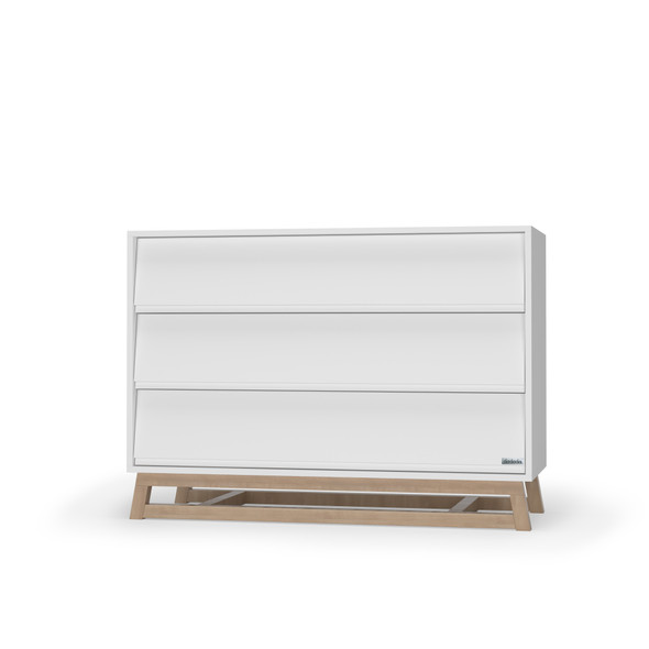 Dadada Domino Collection 3 Drawer Dresser in White and Natural