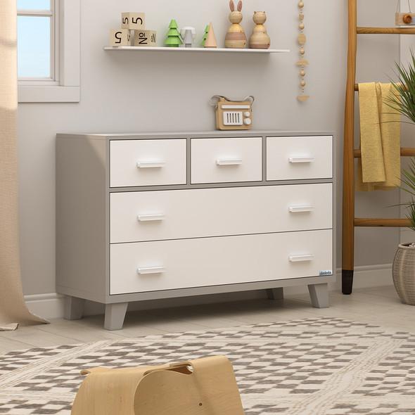 Dadada Boston Collection RTA 5 Drawer Dresser in White and Gray
