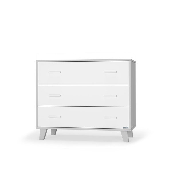 Dadada Brooklyn Collection RTA 3 Drawer Dresser in White and Gray