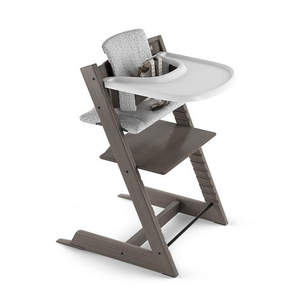 Stokke Tripp Trapp Complete High Chair in Hazy Grey w Cloud Sprinkle Cushion