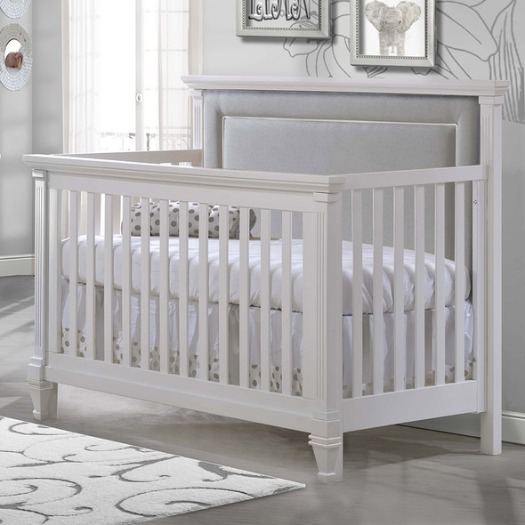Natart Belmont ''5-in-1'' Convertible Crib in White with upholstered Panel in Linen Grey (w/out rails)