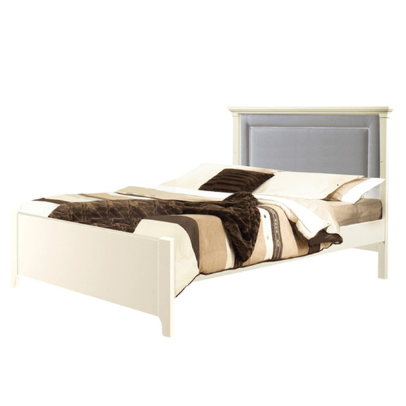 "Natart Belmont Double Bed 54"" with Low Profile Footboard, Rails & Linen Grey Upholstered Panel in White"
