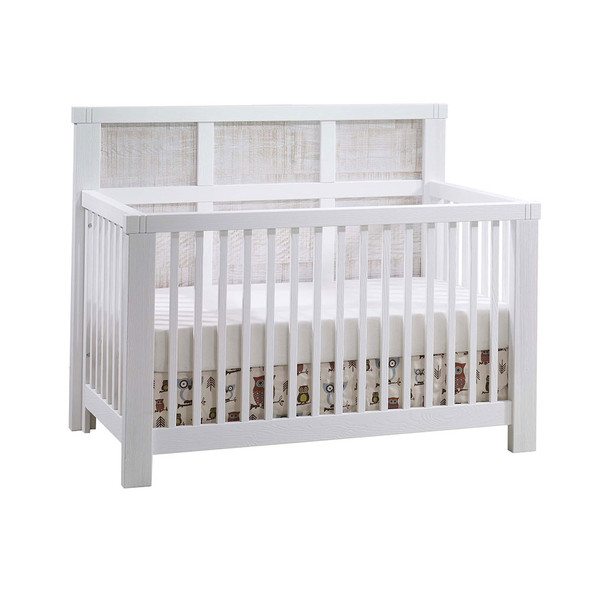 Natart Rustico Moderno 5-in-1 Convertible Crib with Wood Panel (w/out rails) in White with White Bark