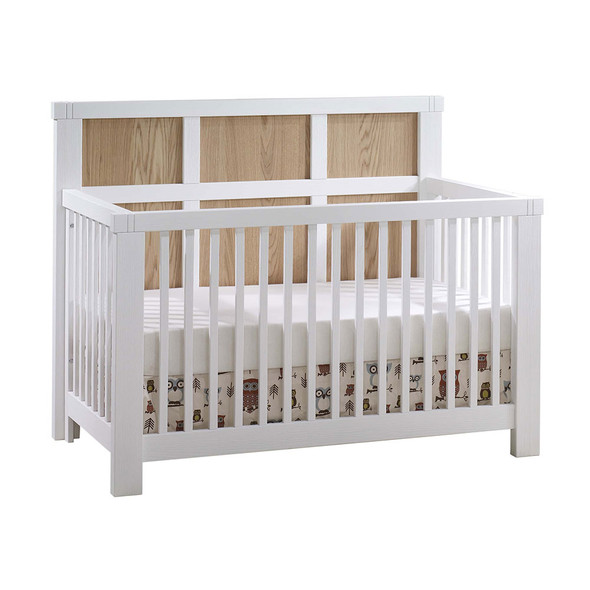Natart Rustico Moderno ''5-in-1'' Convertible Crib with Wood Panel (w/out rails) in White with Natural Oak
