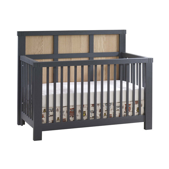 Natart Rustico Moderno ''5-in-1'' Convertible Crib with Wood Panel (w/out rails) in Graphite with Natural Oak