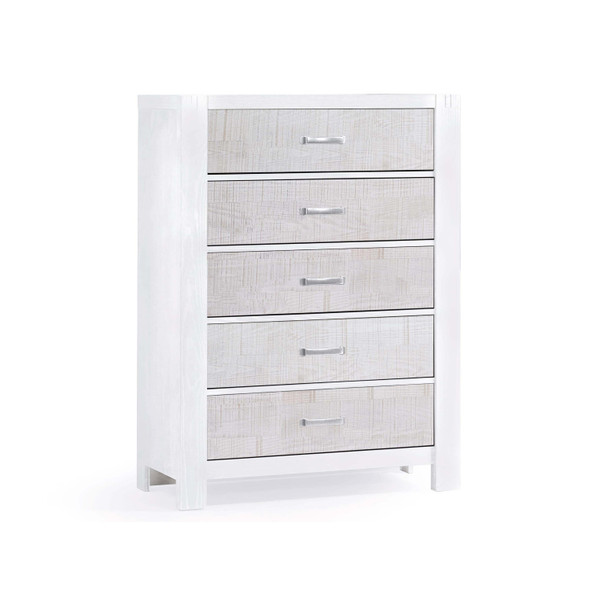 Natart Rustico Moderno 5 Drawer Dresser in White and White Bark