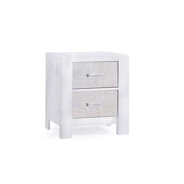 Natart Rustico Moderno Nightstand in White and White Bark