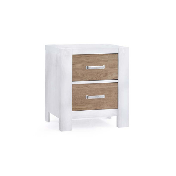 Natart Rustico Moderno Nightstand in White and Natural Oak