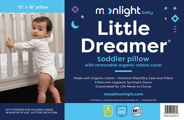 Moonlight Slumber Little Dreamer Toddler Pillow + removeable Organic Pillow Case