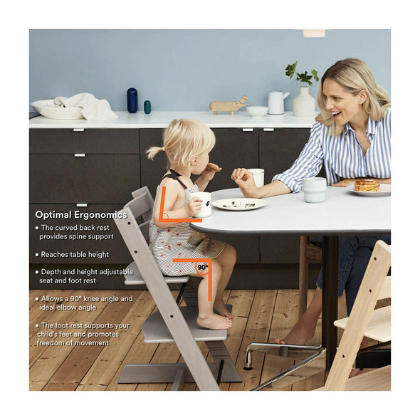 Stokke Tripp Trapp High Chair Complete (incl. Chair and matching babyset, Cushion and Tray) in White w Icon Grey