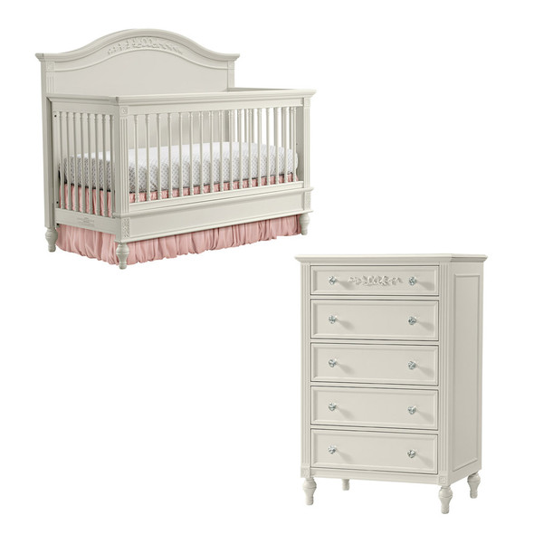 Stella Baby and Child Arya 2 Piece Nursery Set - Convertible Crib and 5 drawer Dresser in Parchment