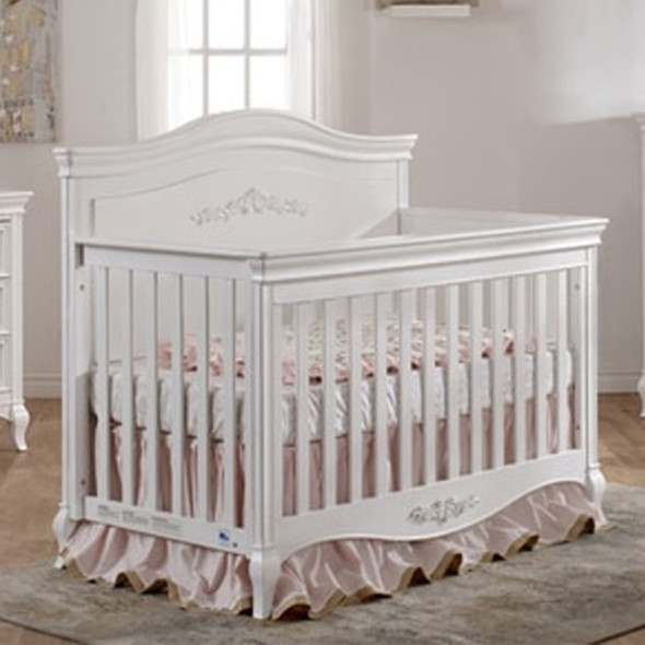 Pali Diamante Collection Forever Crib in Vintage White w/ Decor Panel
