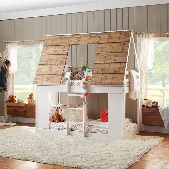 Ti Amo Adirondack Cabin Bunk Bed in White/Brown