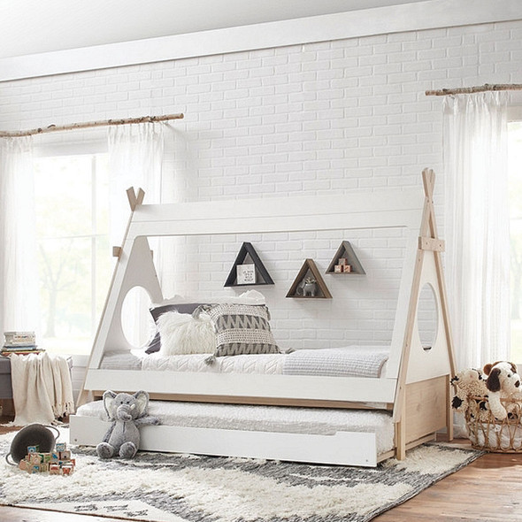 Ti Amo Sierra Teepee Bed + Trundle in White/Natural
