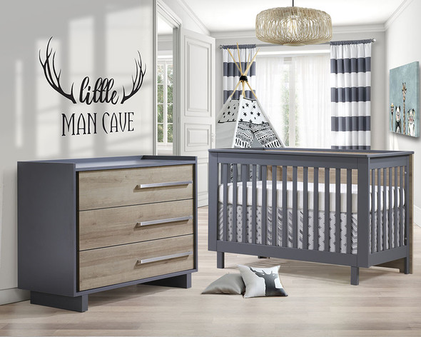 Natart Tulip Urban 2 Piece Set - Convertible Crib and 3 Drawer Dresser in Charcoal/Natural