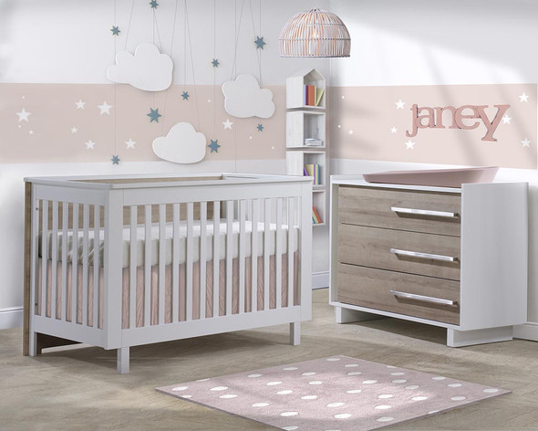 Natart Tulip Urban 2 Piece Set - Convertible Crib and 3 Drawer Dresser in White/Natural