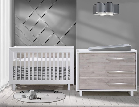 Natart Tulip Urban 2 Piece Set - Convertible Crib and 3 Drawer Dresser in White/Sand