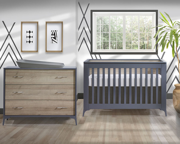 Natart Metro 2 Piece Set - Convertible Crib and 3 Drawer Dresser in Charcoal/Natural