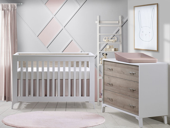 Natart Metro 2 Piece Set - Convertible Crib and 3 Drawer Dresser in White/Natural