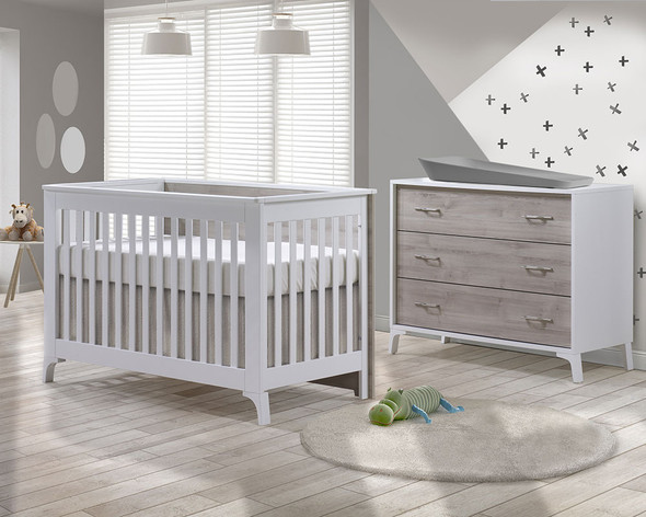 Natart Metro 2 Piece Set - Convertible Crib and 3 Drawer Dresser in White/Sand